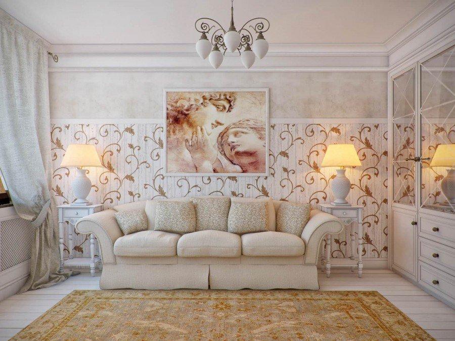 Гостиная в стиле прованс с картиной