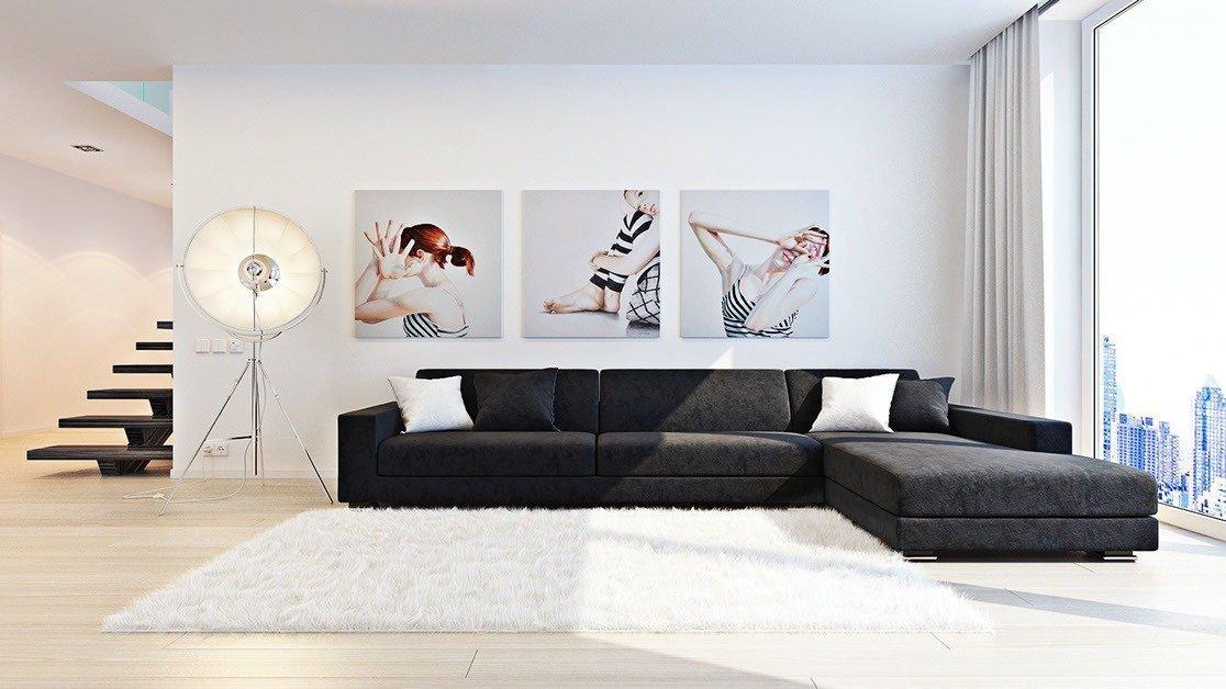 Гостиная в стиле минимализм с картинами