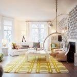 Кресло на цепи в гостиной