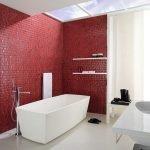 Красная стена в белом интерьере ванной