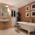 Большой комнатный цветок в ванной