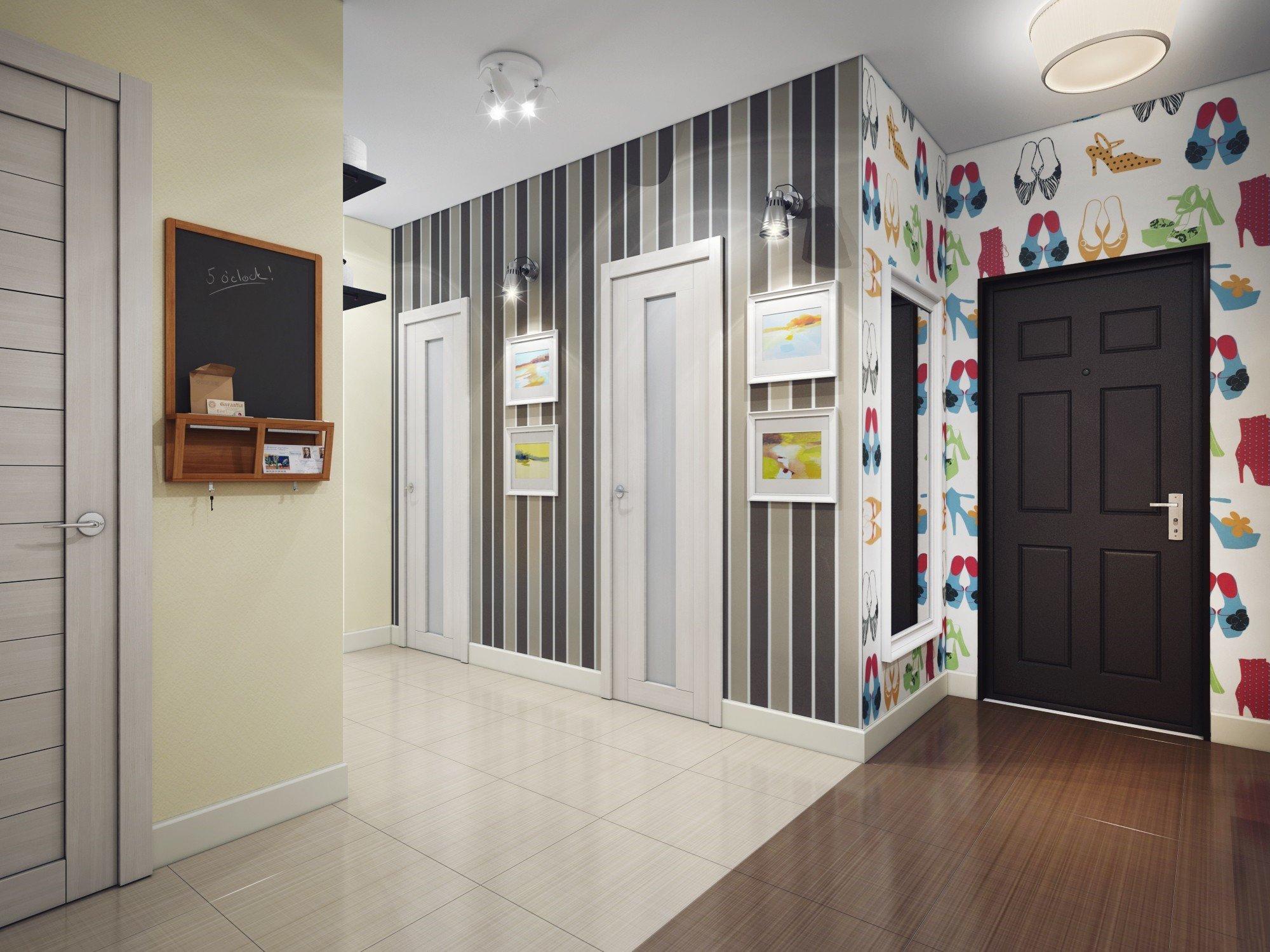 Вертикальные полосы на обоях в коридоре