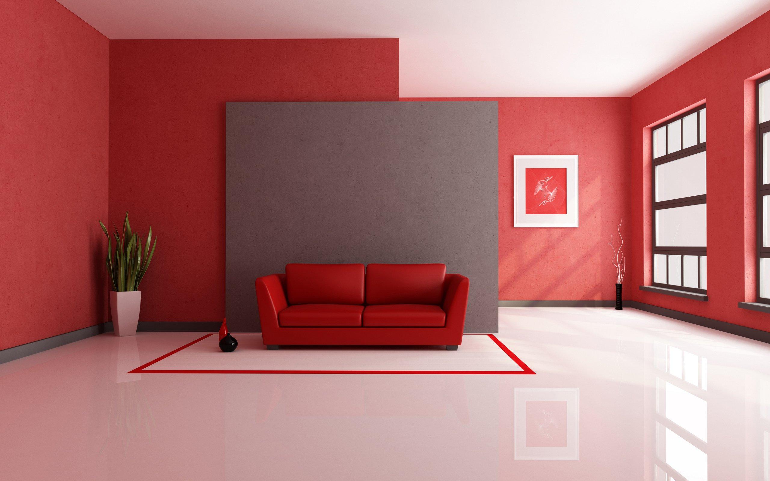 Красные стены в интерьере
