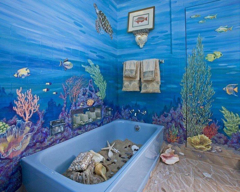 Художественная роспись в ванной