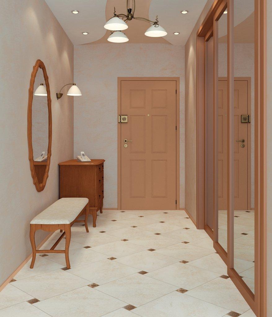 Плитка на полу в интерьере современной прихожей