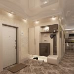 Комбинирование декоративной штукатурки и плитки под кирпич на стенах