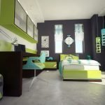 Детская спальня в зелено-серых тонах