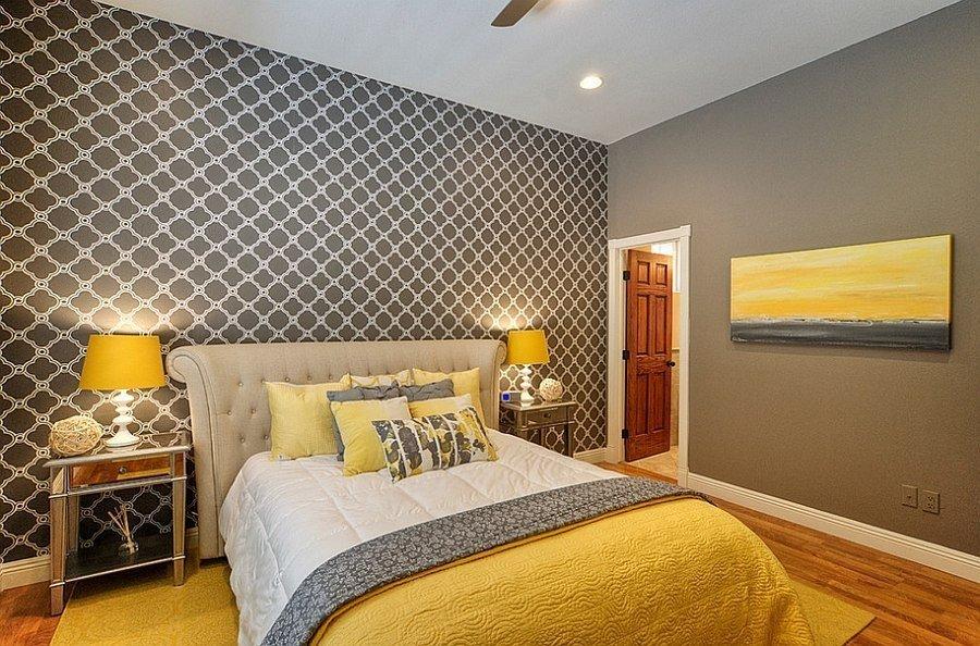 Серый с желтым в спальне