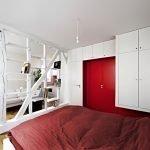 Белый стеллаж для спальни