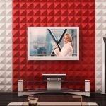 Красно-белая стена в гостиной