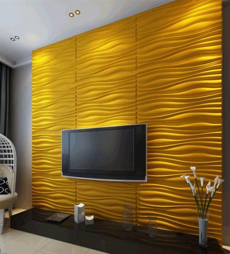 Телевизор на желтой стене