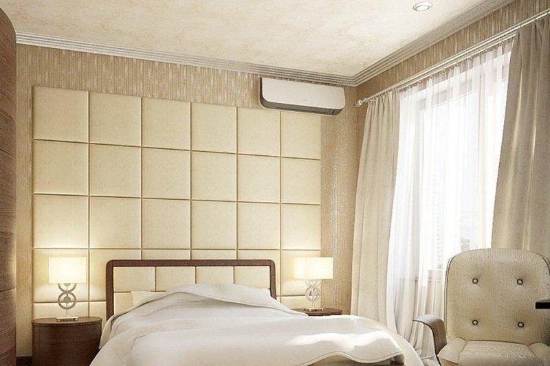 Изголовье кровати из мягких панелей