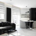 Белый пол и темная мебель в квартире