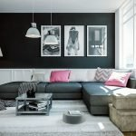 Розовые подушки на сером диване