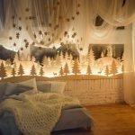 Зимний лес в спальне