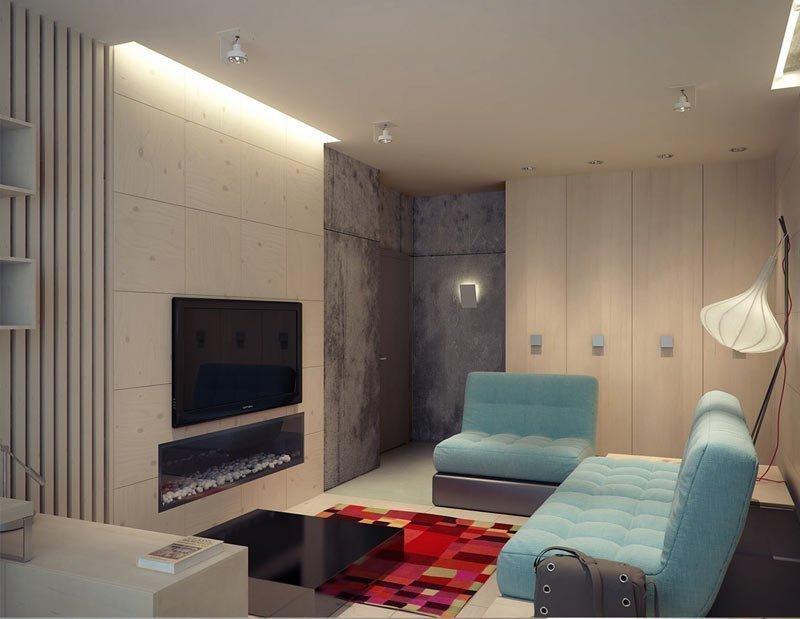 Телевизор и декоративный камин на стене напротив телевизора
