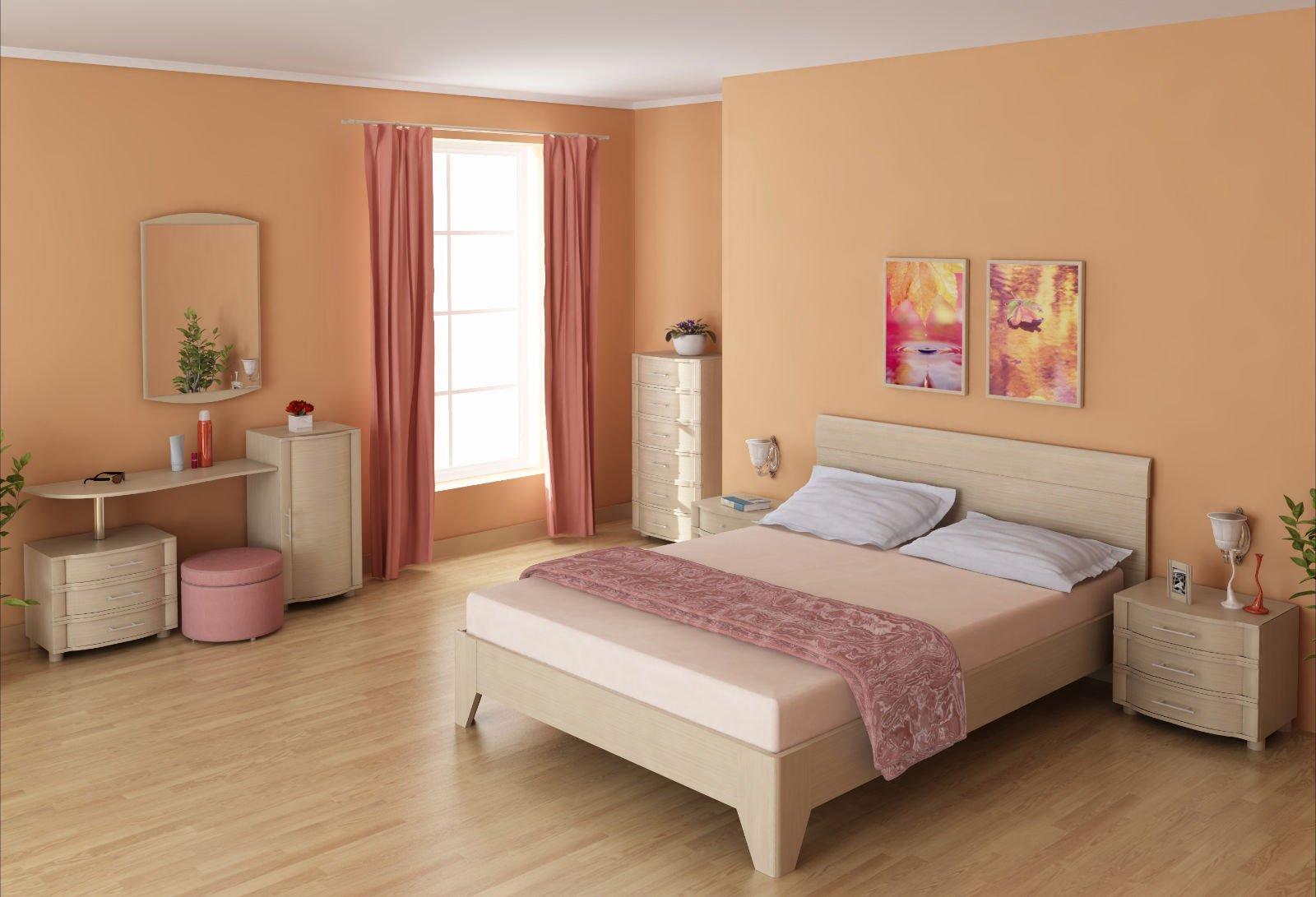 Беленый дуб в интерьере спальни