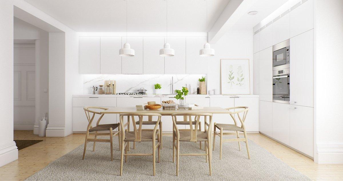 Светлые стены в интерьере кухни-столовой