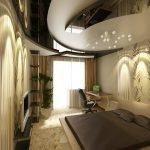 Роскошный декор потолка в спальне
