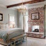 Кирпичный камин в спальне