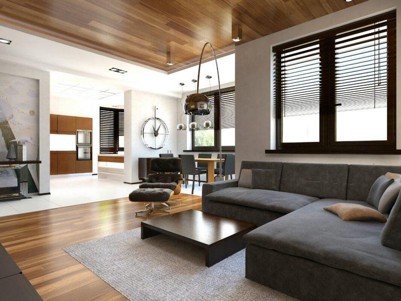 Стильный потолок под дерево в гостиной