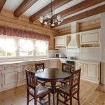 Балки из дерева на кухне