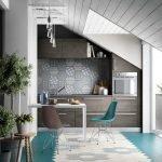 Серый деревянный потолок в кухне