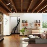 Контрастный потолок в гостиной