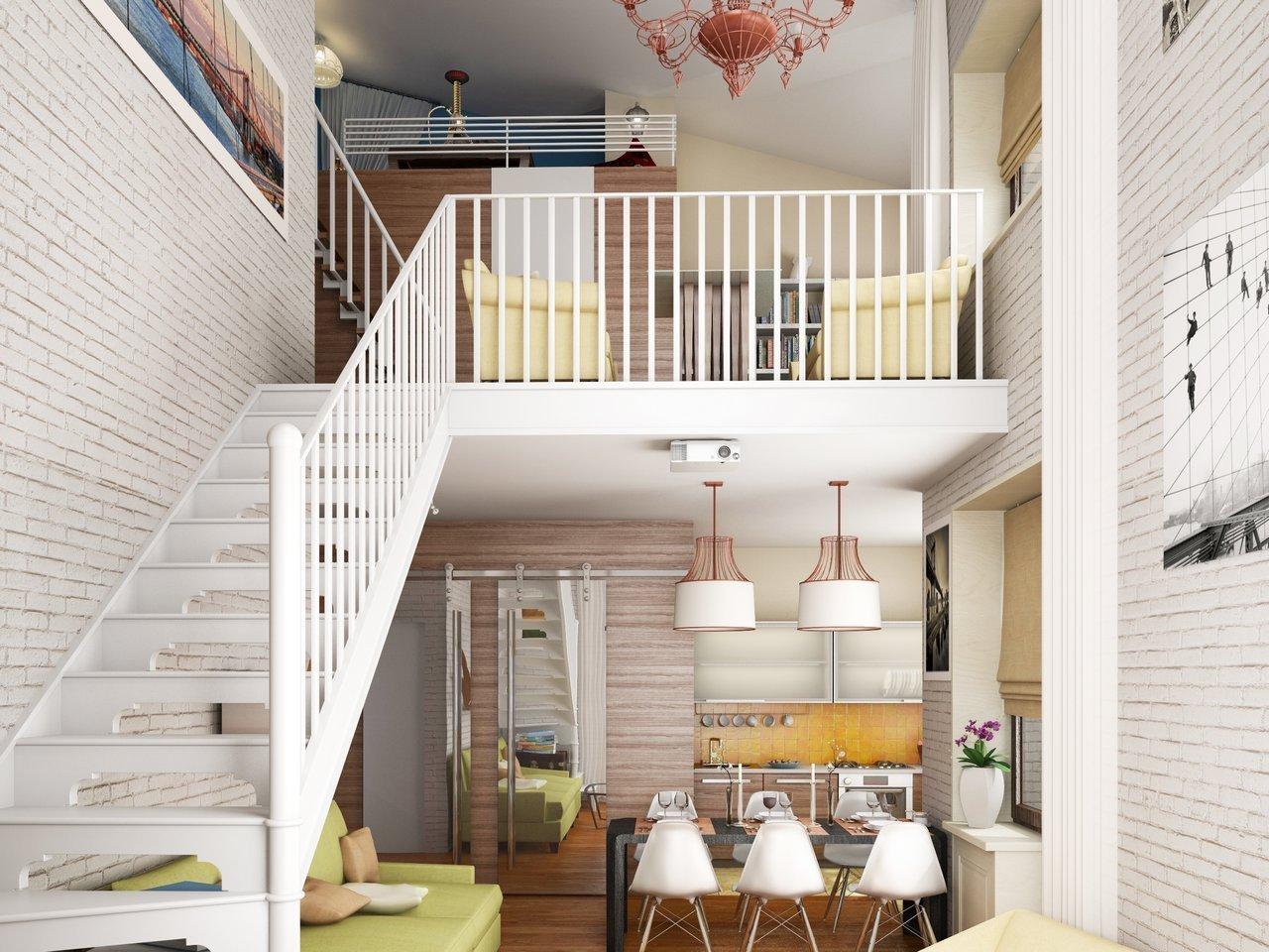Двухуровневая квартира в светлых тонах