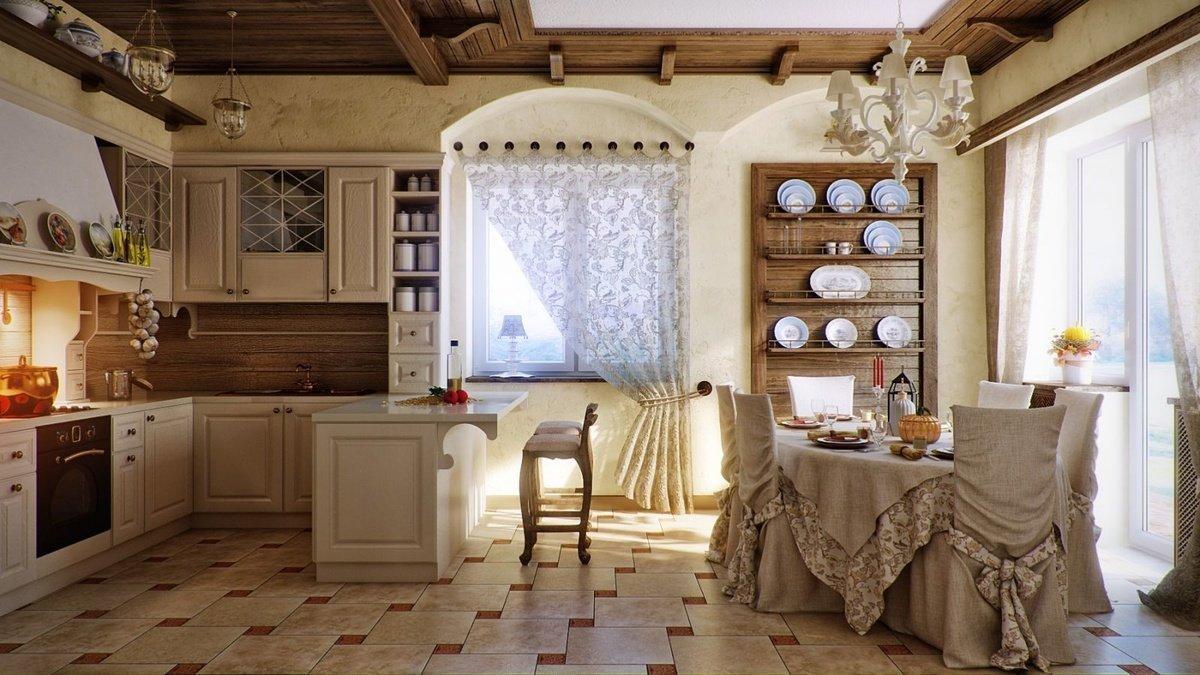 Текстиль в интерьере кухни в загородном доме