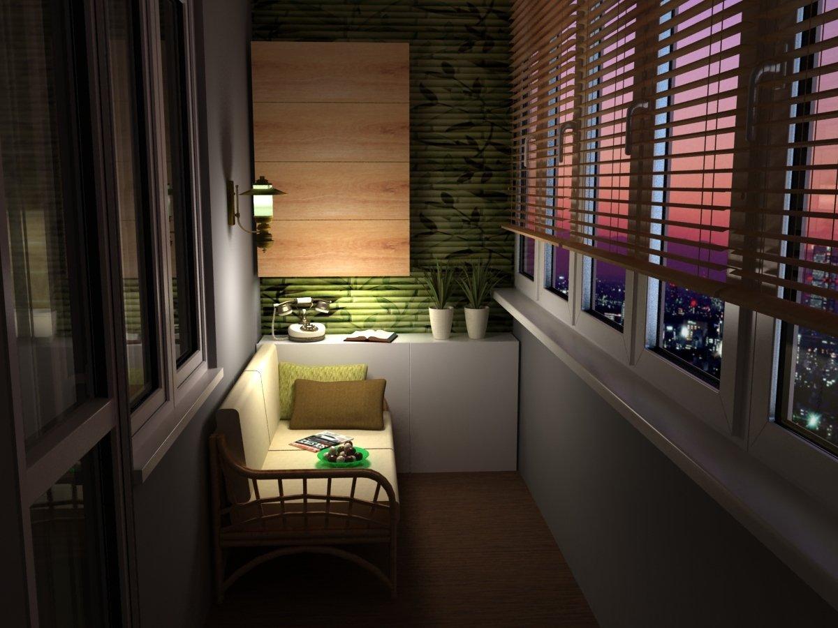 Светильник над диванчиком на маленьком балконе