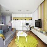 Серо-желтый декор зала