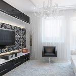 Черно-белый декор зала