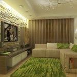 Бежевые стены и зеленый текстиль в гостиной