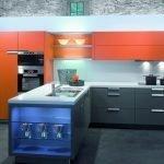 Оранжевые шкафы на кухне