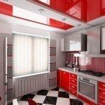 Красно-белый дизайн кухни