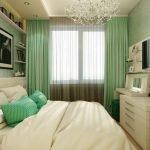Белый в сочетании с зеленым в спальне