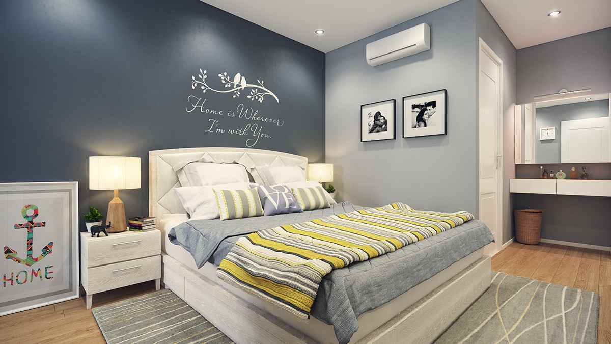Gray bedroom interior of 16 square meters. m