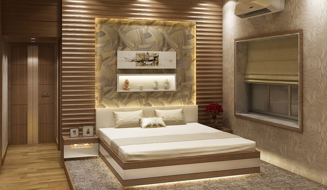 Bedroom in beige tones