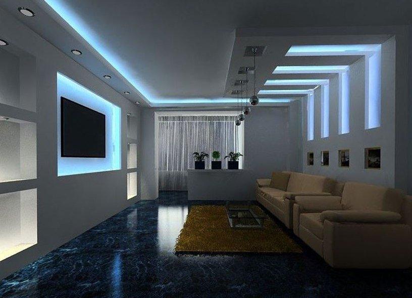 Дизайн стен из гипсокартона с подсветкой в гостиной