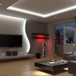 Полки с красной подсветкой в гостиной