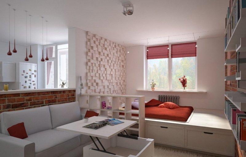 Гостиная-спальня в квартире-студии 26 кв м