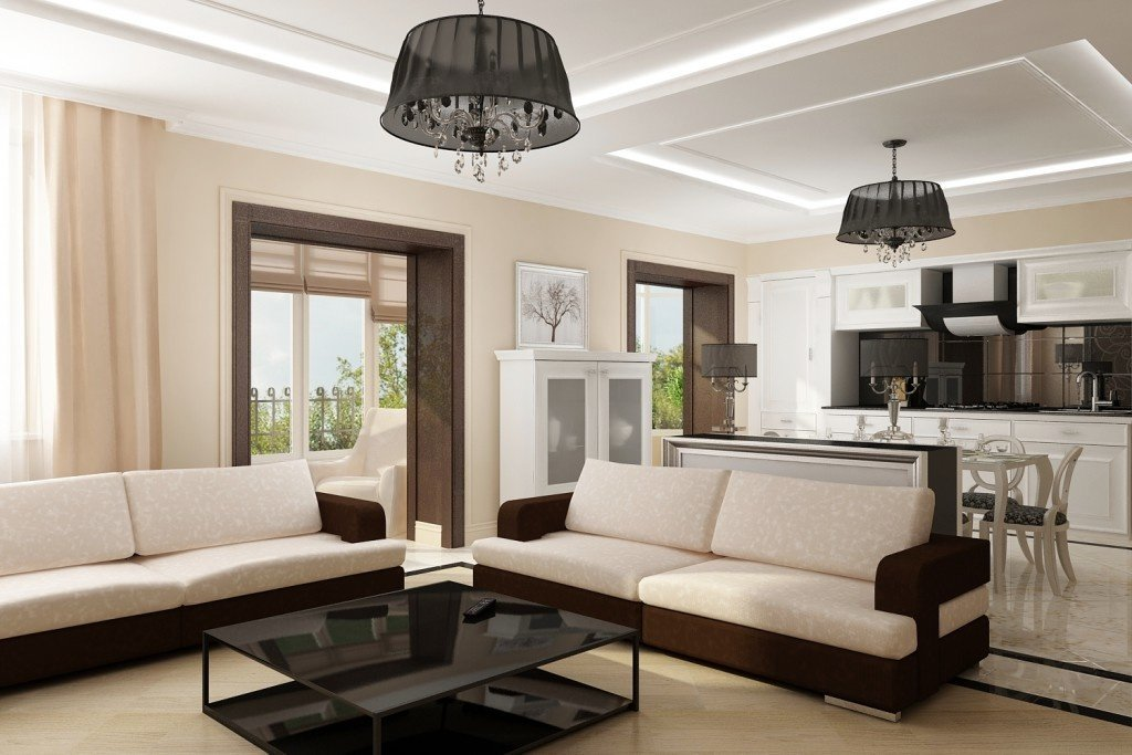 Оформление потолка с темными люстрами в стиле модерн