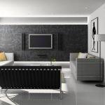 Черная стена в белом интерьере