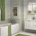Зеленый текстиль в ванной