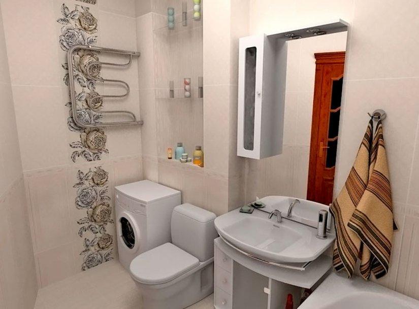 Стиральная машина в углу ванной комнаты