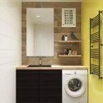 Желтый кафель в ванной со стиральной машиной