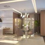 Комната со столовой и кухонной зонами