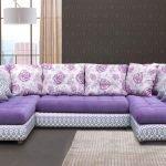 П-образный сиреневый диван