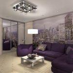 Кресло и диван фиолетового цвета